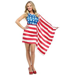America Beauty Adult Costume One Sleeve Flag Dress July 4th Patriotic Size Small