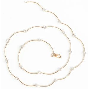 Ladies 14k Yellow & White Gold Round Cut Bezel Set Diamond Necklace .57ctw