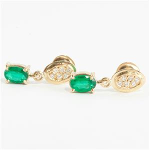 Ladies 18k Yellow Gold Oval Cut Emerald & Diamond Dangle Earrings 1.06ctw