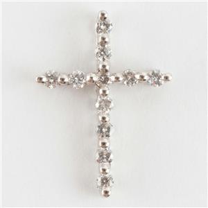 "Beautiful 18k White Gold Round Cut ""H"" Diamond Cross Pendant .28ctw"