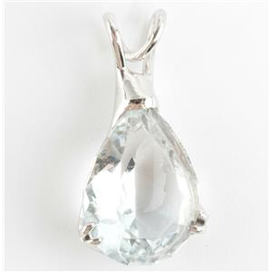 "Ladies 14k White Gold Pear Cut ""A"" Aquamarine Solitaire Pendant 4.95ct"