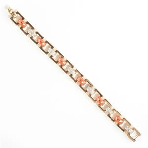 Ladies 18k Yellow Gold cabochon Cut Coral & Diamond Italian Link Bracelet .78ctw