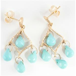 """Ladies 14k Yellow Gold Briolette Cut """"A"""" Persian Turquoise Dangle Earrings"""