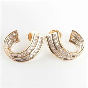 Ladies 14k Yellow Gold Round Cut Diamond Huggie Hoop Earrings .56ctw