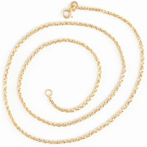 """Unisex 14k Yellow Gold Twisted Box Chain Necklace 18"""" Length"""