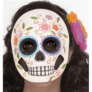 Flowered Female Day Of the Dead Adult Mask Full Face