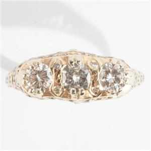 Ladies Vintage 1910's 14k Yellow Gold Three-Stone Diamond Ring 1.25ctw