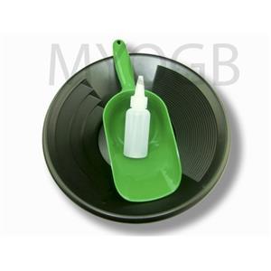 "Gold Panning Kit 12"" Black Pan - Bottle Snuffer & Green Scoop-Mining Prospecting"