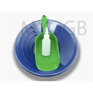 "Gold Panning Kit 12"" Blue Pan - Bottle Snuffer & Green Scoop-Mining Prospecting"