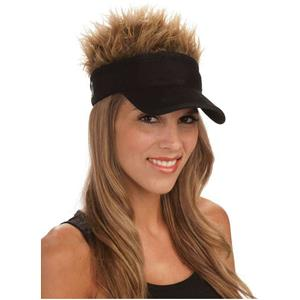 Black Foldable Visor Hat with 3 Spiky Removeable Hairpieces Blonde Brown Gray