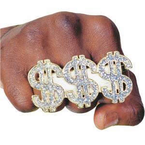 3 Finger $$$ Pimp Ring Triple Money Dollar Sign Ring