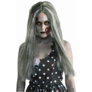 Creepy Lady Zombie Adult Long Gray Green Wig