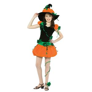 Rasta Imposta Girl's Teen Pumpkin Witch Halloween Costume Size12-16