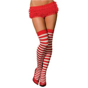 Red and White Striped Thigh High Stockings