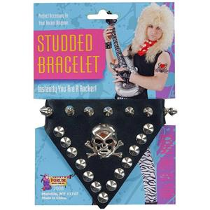 80's Skull Silver Studded Black Rocker Punk Bracelet