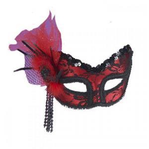 Neon Red Lace Masquerade Venetian Mardi Gras Mask