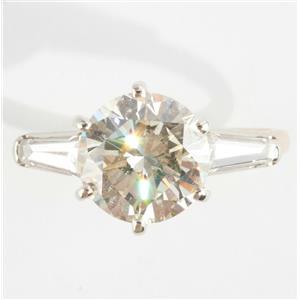 Ladies 14k Yellow & White Gold Round Cut 2.5ct Diamond Solitaire Engagement Ring