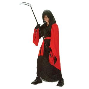 Phantom Warrior Child Costume Red Black Reaper Robe Size Large 12-14