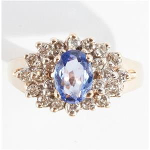 Ladies 14k Yellow Gold Oval Cut Tanzanite & Diamond Cluster Ring 1.2ctw