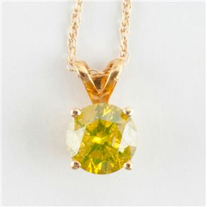 "14k Yellow Gold Round Cut Yellow Diamond Solitaire Pendant W/ 18"" Chain .75ct"