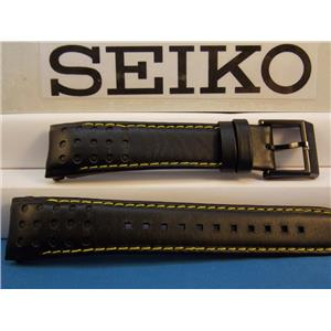 Seiko Watch Band SNAE67 Black Curved End Leather Strap w/Yellow Stitching