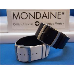 Mondaine Swiss Railways Watch Band 24mm Reversible Black/White 1 Piece LoopThru