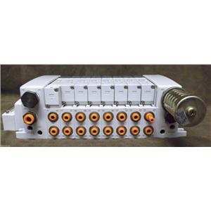 "Manifold w/ ""1"" SMC VQC4301-5  & ""7"" VQC4101-5  Solenoid Valve 5-Port VQC Series"