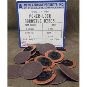 Merit Power Lock Abrasive Disks/ 1 inch, Snap On/ Type One/ Part# 61022/ Qty 100