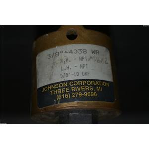 "JOHNSON CORP. ROTARY UNION 5/8""-18 UNF RH MODEL  3/8""-4038"