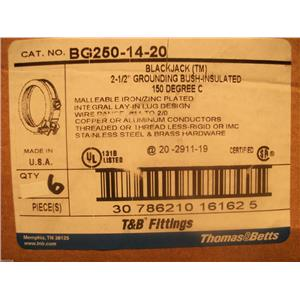 "Thomas & Betts BG250-6-40  Black Jack 2 1/2""Grounding Bushings Insulated  150C"