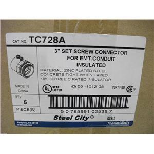 """Thomas & Betts 3"""" Set Screw Connector for EMT Conduit Insulated #TC728A BOX OF 5"""