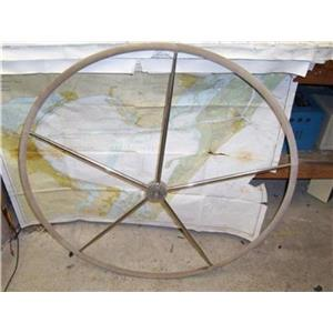 "Boaters' Resale Shop of Tx 1405 0107.02 LEATHER WRAPPED 40"" DESTROYER WHEEL"