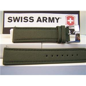 Swiss Army Watch Band Infantry Military Green 22mm Fabric Mesh / Leather w/Pins