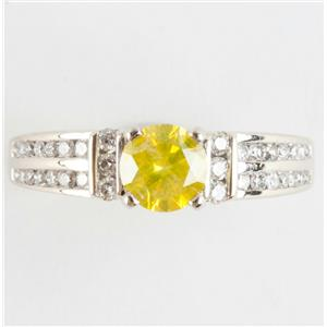Ladies 14k White Gold Yellow Diamond Solitaire Engagement Ring W/ Accents .90ctw