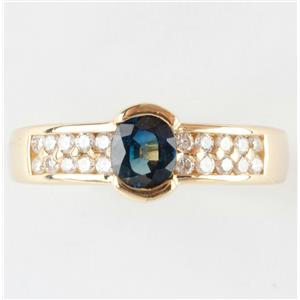 """Ladies 18k Yellow Gold Oval Cut """"AA"""" Sapphire Solitaire Ring W/ Diamonds 1.3ctw"""