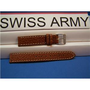 Swiss Army Watch Band 15mm Ladies Made in Switzerland Brown Strap white Stitching