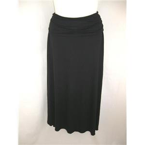 "Motherhood Black Lightweight Maternity Maxi Skirt with 7"" fold over waistband"