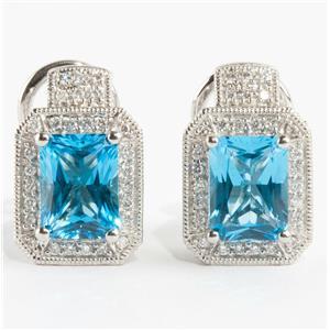 Ladies 18k White Gold Blue Topaz Solitaire Earrings W/ Diamond Accents 4.29ctw