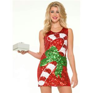 Candy Cane Sequin Christmas Sexy Costume Dress M/L (8-12)
