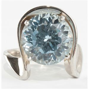 "Ladies 14k White Gold Round Cut ""A"" Aquamarine Solitaire Cocktail Ring 5.5ct"