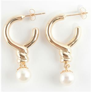 "Ladies 14k Yellow Gold Natural ""A"" Pearl Solitaire Dangle Earrings 3.6g"