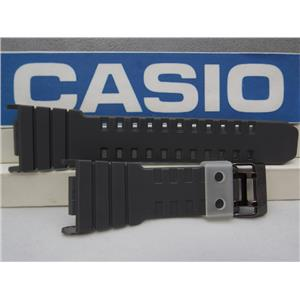 Casio Watch Band G-5500 TS-8v Gray w/Black Steel Two Prong buckle/Clear Keeper