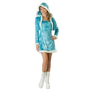 Girl's Eskimo Cutie Juniors Teen Blue Snowflake Eskimo Costume Size Small 1-3