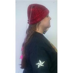 Women's Knit Beanie Cap with Attached Hair Mixed Braids with Beads and Feathers