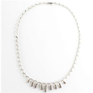 "Ladies 18k White Gold Round Cut ""F"" Diamond & Cognac Diamond Necklace 3.06ctw"