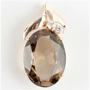 Custom Made 14k Yellow Gold Oval Cut Smokey Quartz & Diamond Pendant 24.2ctw