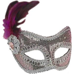 Light Pink and Silver Sequin Fashion Masquerade Venetian Mardi Gras Eye Mask