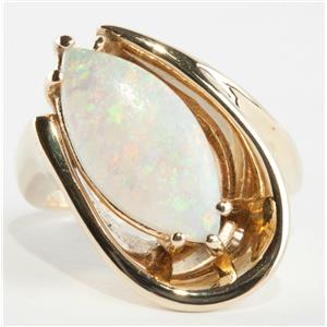"""Ladies Stunning 14k Yellow Gold Marquise Cut """"AA"""" Opal Solitaire Ring 3.0ct"""