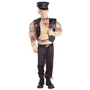 Macho Biker Child Muscle Chest Costume with Tattoos Size Small 4-6
