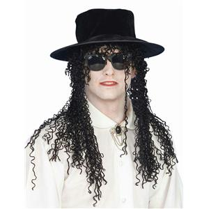 From the 80s Adult Pop Superstar Hat and Long Black Curly Wig 80's Pop Star